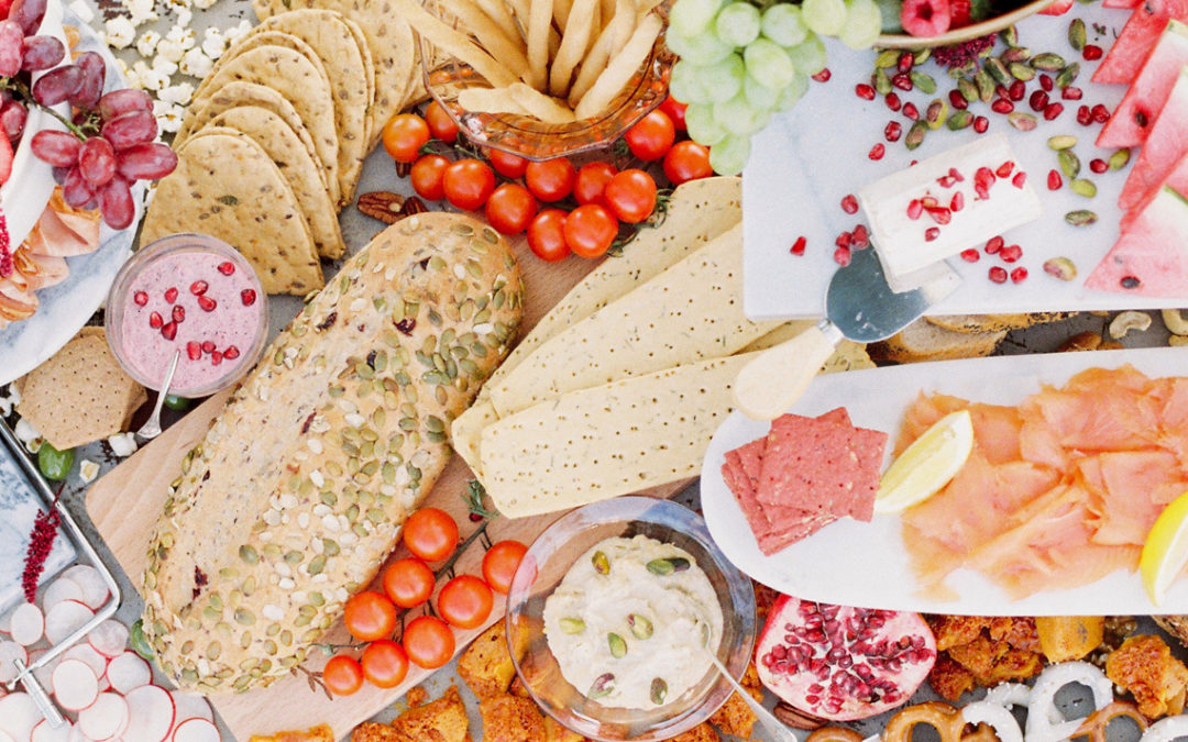 A Grazing Table for a Spring Picnic Wedding Styled Shoot